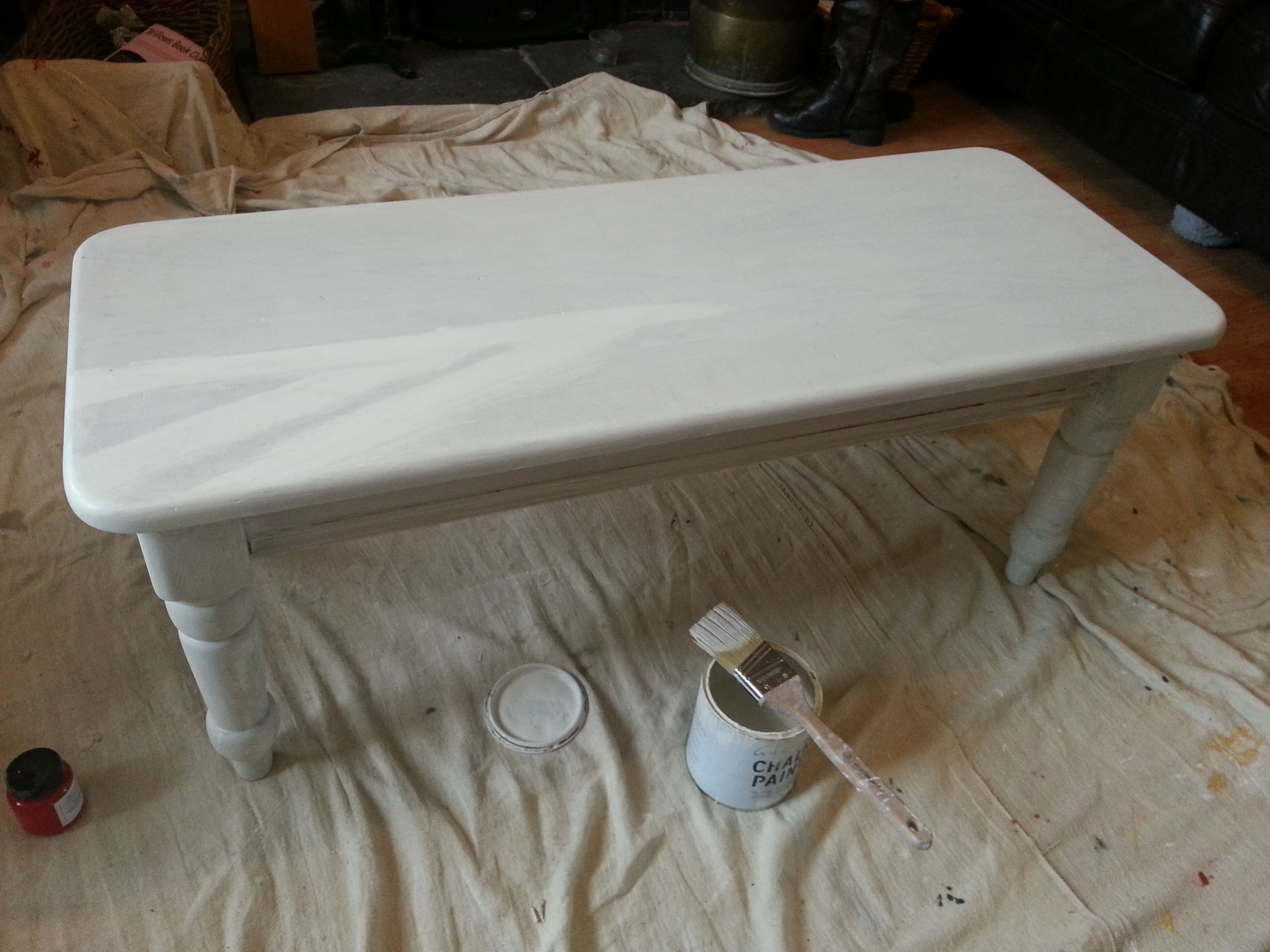 The Whole Table With One Coat Of Annie Sloan Chalk Paint In Old